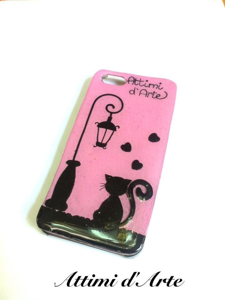 "cover iphone 5 fantasia ""gatto nero"" total handmade"