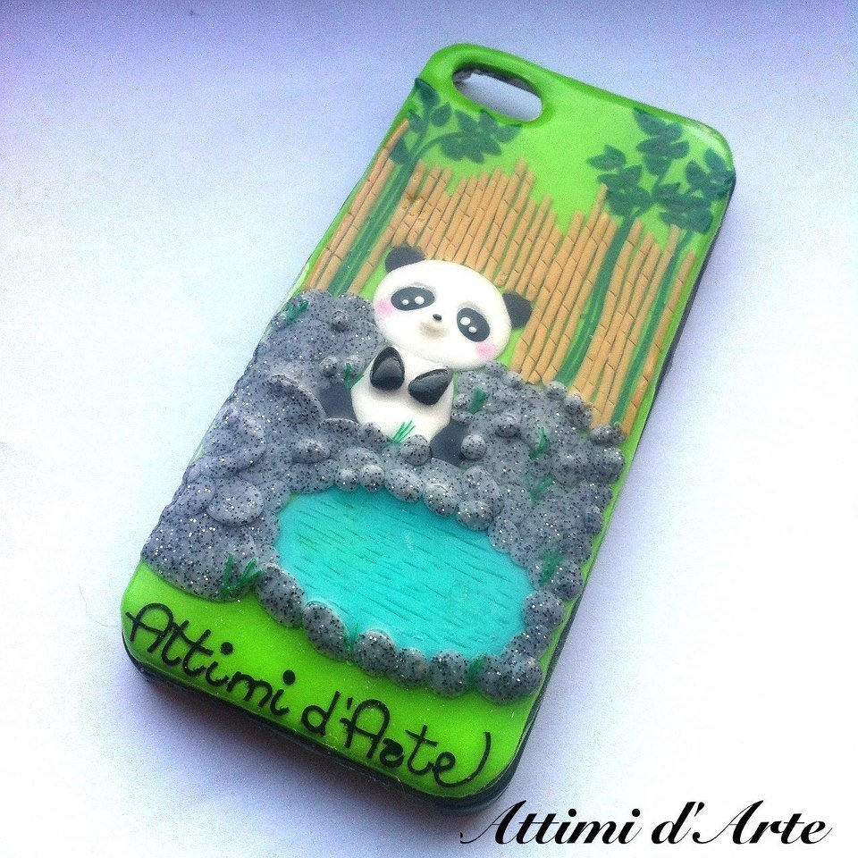 "cover iphone 5 fantasia ""panda e canne"" total handmade"
