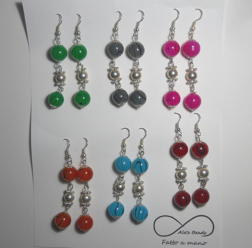 set 6 paia di orecchini colori estate