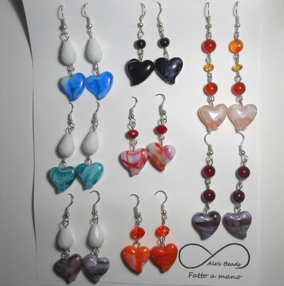 set 8 paia di orecchini cuore