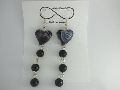 orecchini in vetro a cuore nero