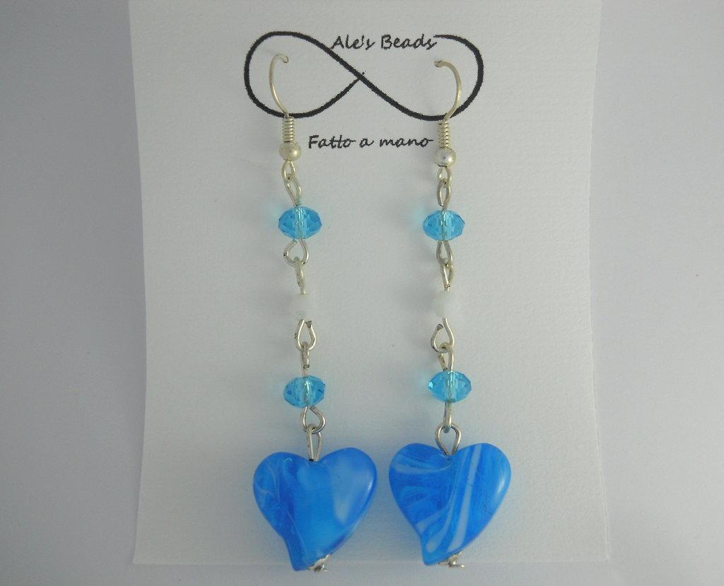 orecchini in vetro a cuore turchese