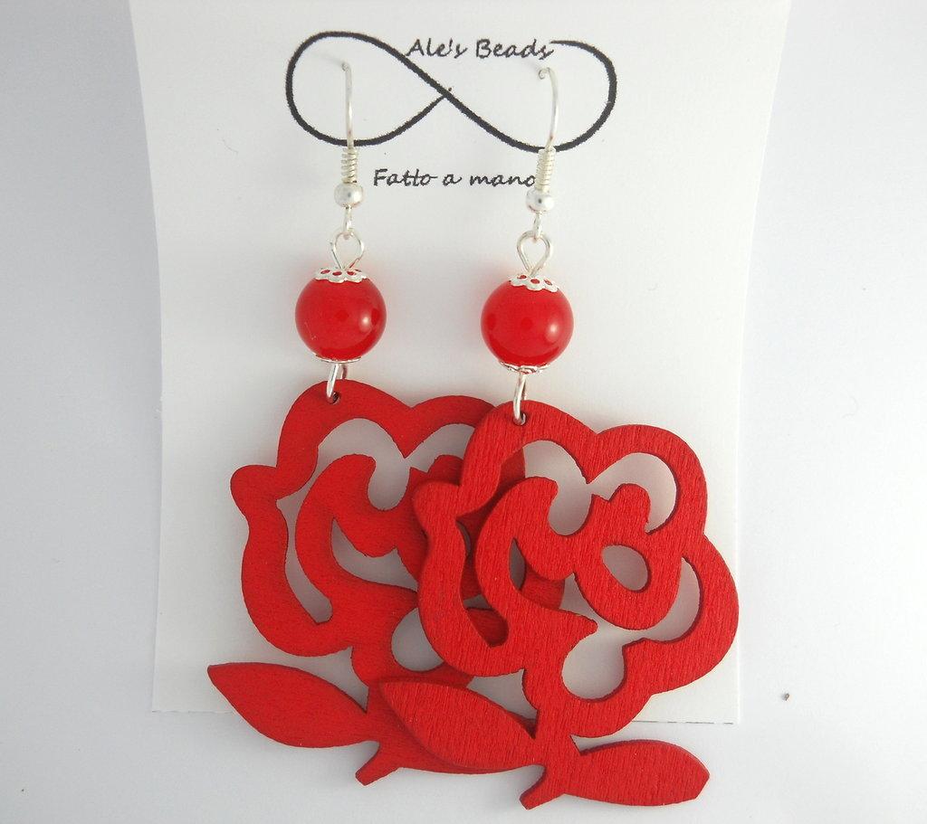 orecchini in legno a fiore rossi