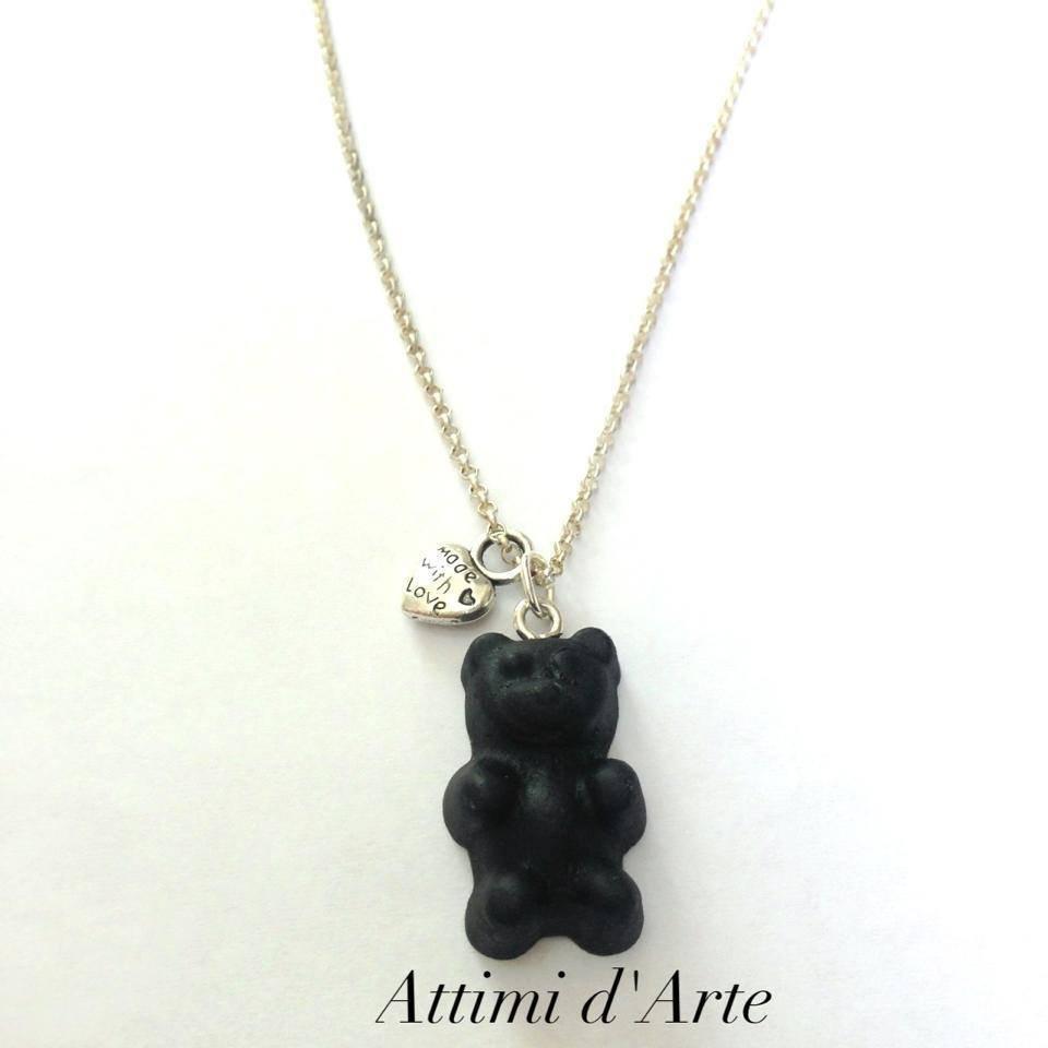 """collana  con orsetto """"gommoso"""" nero handmade"""