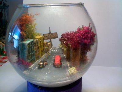 scorcio di città in bolla di vetro