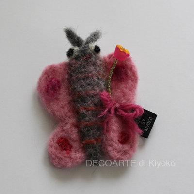 Spilla di farfalla rosa in feltro