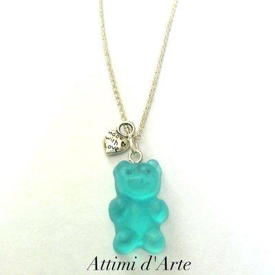 """collana  con orsetto """"gommoso"""" celeste handmade"""