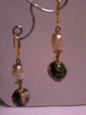 Bellissimi orecchini victorian style con perle cloisonnè