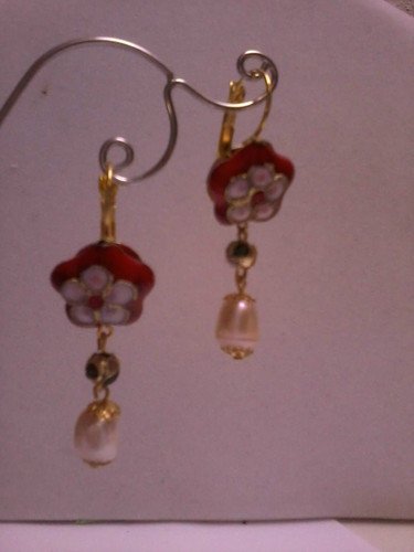 Orecchini victorian style con perle cloisonnè, Victorian style earrings handmade
