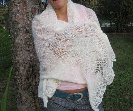knitted crochet white shoulder wrap scarf made from wool - FLOWER PATTERN