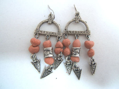 orecchini argento tibetano e terracotta, Tibetan silver earrings vintage style