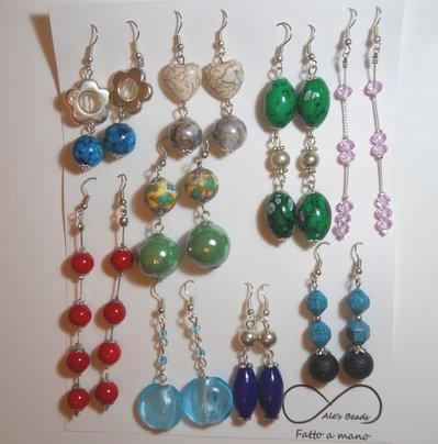set 9 paia di orecchini colori estate