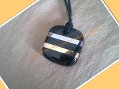 Ciondolo collana granito,ottone,acciaio