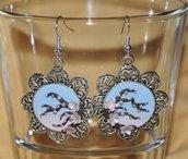 Orecchini Boccioli Sakura - rosa, azzurro, sfumato - Orecchini Pendenti Handmade in pasta sintetica polimerica - Ciliegia, fiori di ciliegio