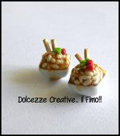 Orecchini a Perno Piatto riso con bacchette - japan food