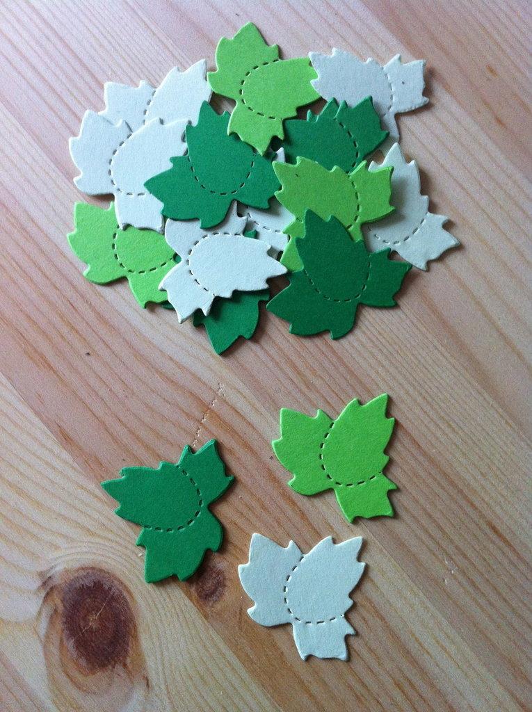 Foglie - leaf trio in cartoncino fustellato - abbellimenti