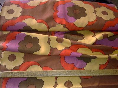 Taglio scampolo stoffa cotone giallo rosso marrone lilla fiori vintage anni 70