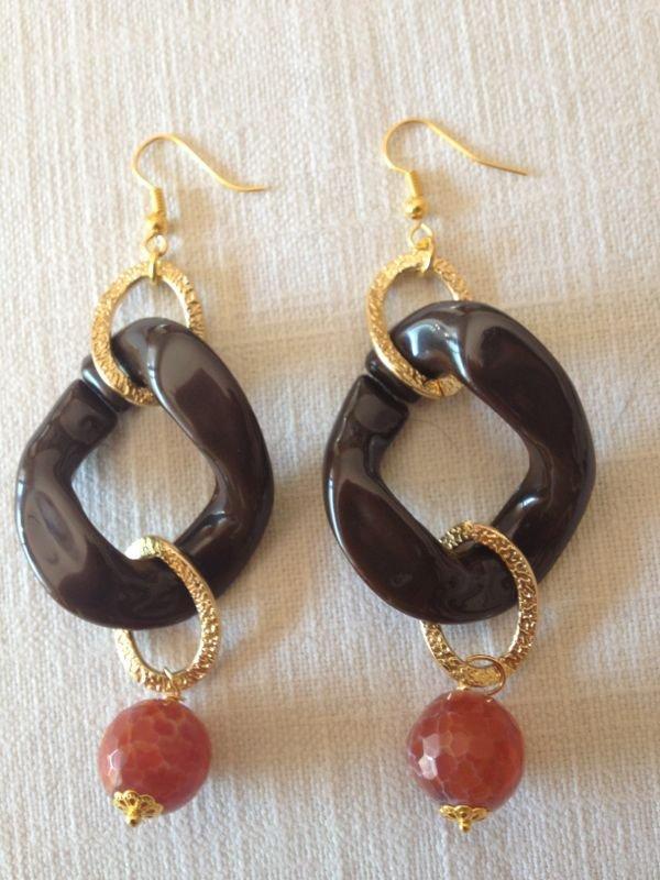 orecchini catena resina e pendente
