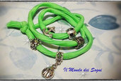 Bracciale/cavigliera verde fluo lycra con charms too late MODA ESTATE 2013!!