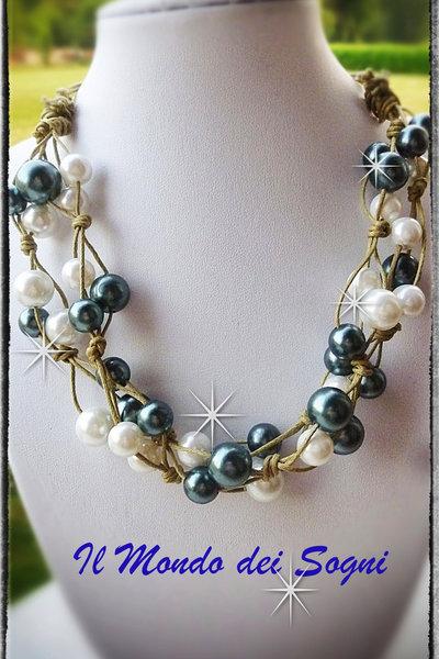 Collana perle bianche e verdi MODA ESTATE! SPEDIZIONE GRATIS