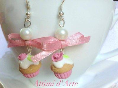 """orecchini  pendenti cupcakes """"romantic rose"""" handmade"""