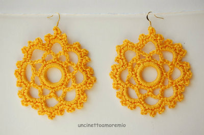 Orecchini uncinetto -Surya: sole estivo d'oriente - in giallo