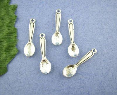 10 charms cucchiaio colore argento antico 24x6 mm scontato