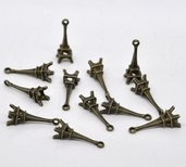 5 CIONDOLI , CHARMS TOUR EIFFEL BRONZO 24X9 MM