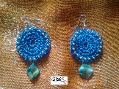 Orecchini in seta blu