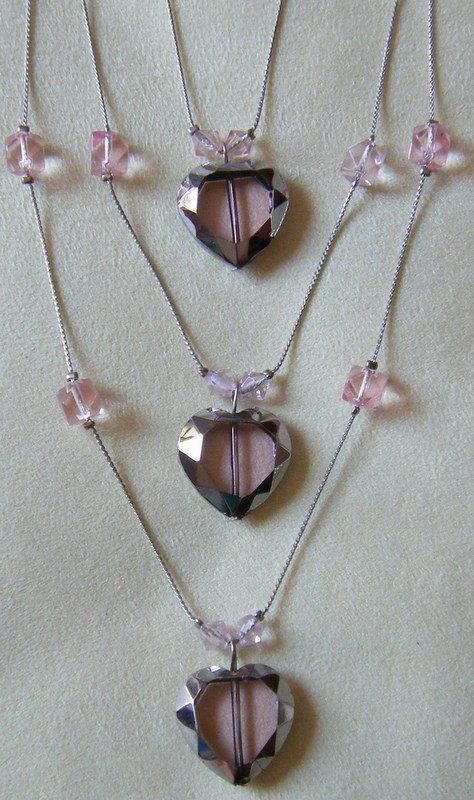 collana a 3 giri con catena e perline