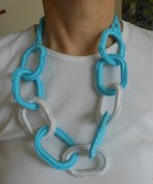 collana anelli ovali turchese e corallo