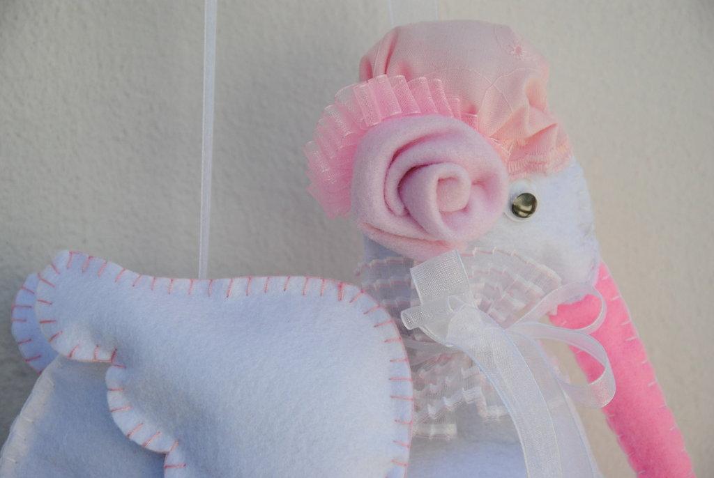 Fiocco nascita cicogna cucita e decorata a mano
