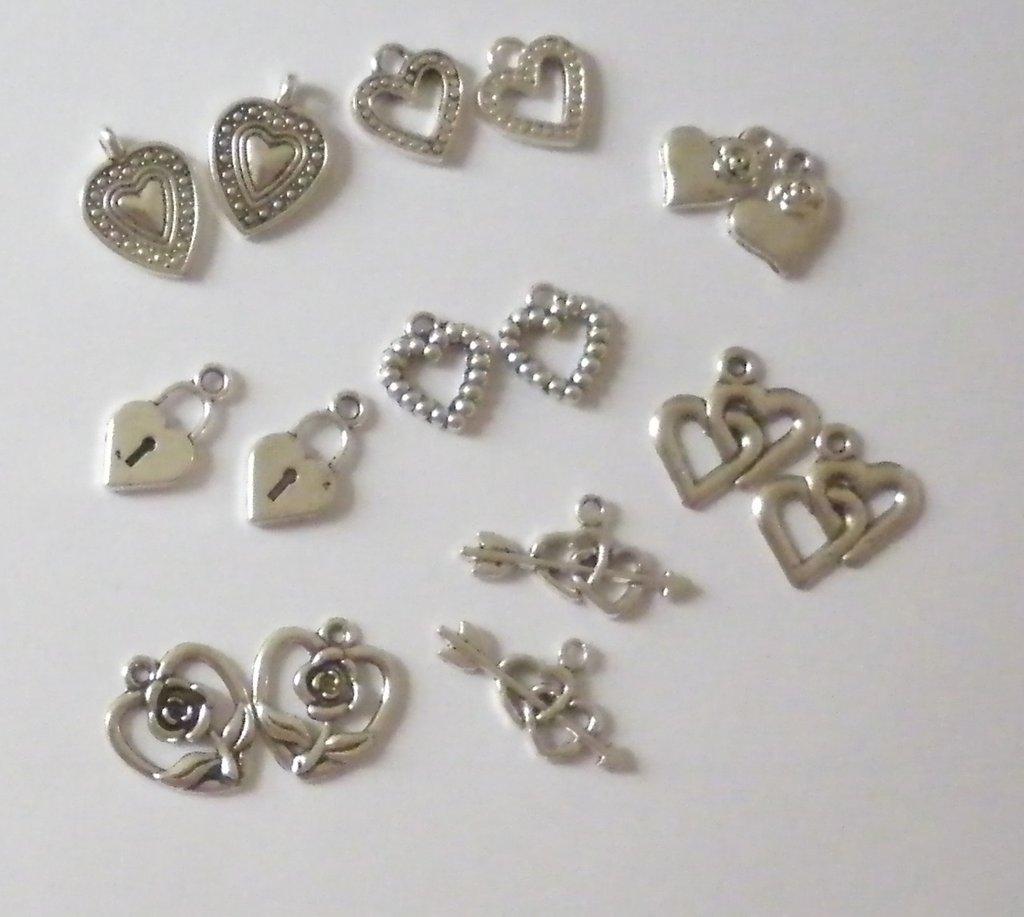 charms cuore argento tibetano lotto 16 pezzi