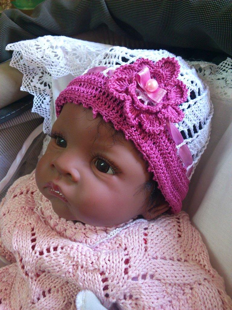 cappellino neonato (0-3) mesi di cotone bianco-rosa antico