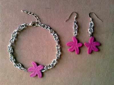 Braccialetto e orecchini con stelle marine fimo