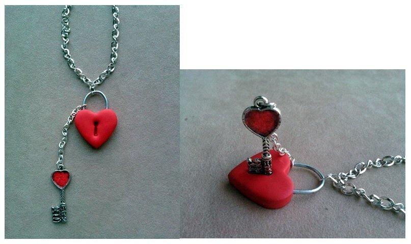 Collana con lucchetto a cuore e chiave pendente fimo