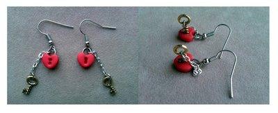 Orecchini pendenti con lucchetto a cuore e chiave pendente fimo