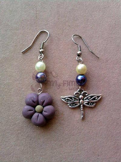 Orecchini pendenti con fiore e libellula fimo