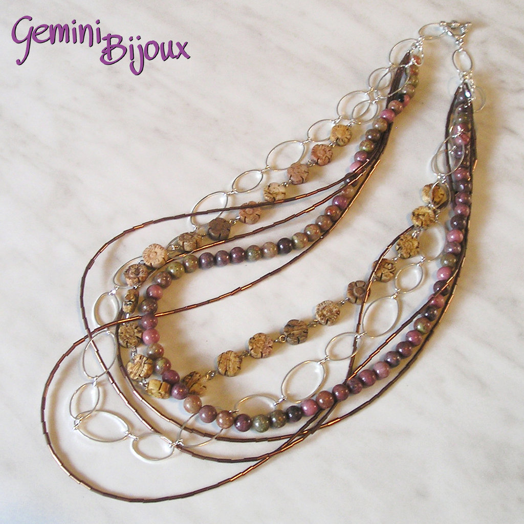 Collana lunga multifili con perle di giada