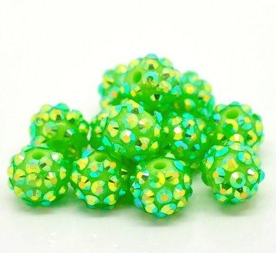 Perle a Sfera in Acrilico Verde Colore AB 12mm