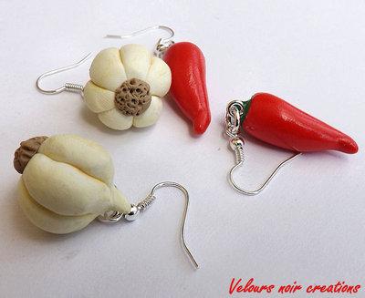 Orecchini aglio e peperoncino in fimo