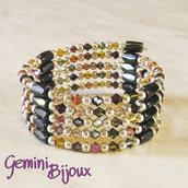 Bracciale biconi swarovski e perle magnetiche