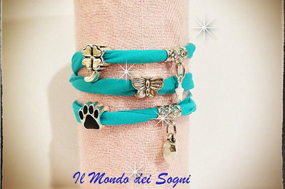 Bracciale/cavigliera verde acqua blu lycra charms too late MODA ESTATE 2013!!