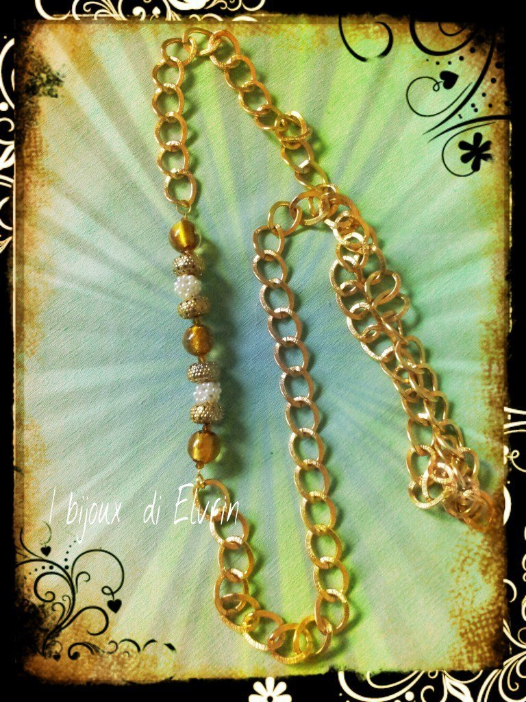 COLLANA CON CATENA DORATA MURRINE E PERLINE