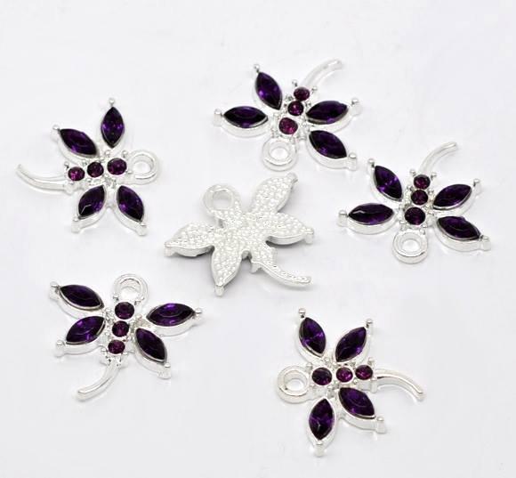 ciondoli forma Libellula con Strass Viola Argentato 20x19mm