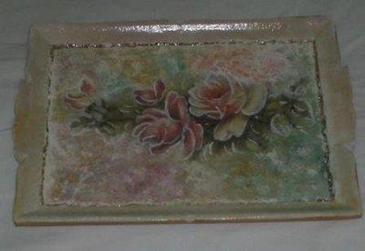 Decoupage pittorico vassoio legno