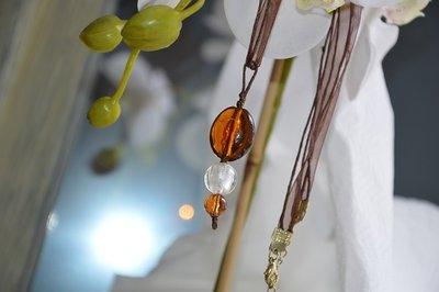 Collana Etnica  in perle vetro Murano Ambra & Bianco  - organza tabacco