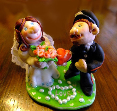Gnomi sposi per torta - WEDDING CAKE TOPPER
