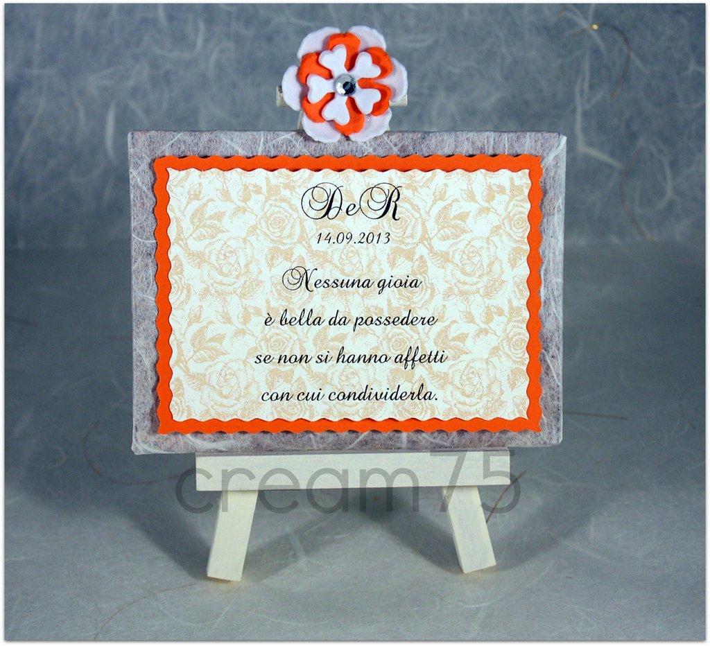 Mini cavalletto ARANCIONE segnatavolo sposi matrimonio segna tavolo