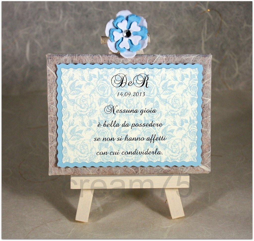 Mini cavalletto AZZURRO segnatavolo sposi matrimonio segna tavolo